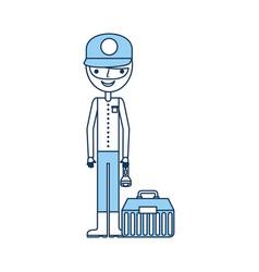 Fisherman with box avatar character vector