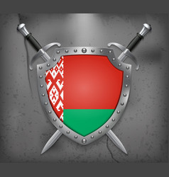 Flag of belarus the shield with national flag vector