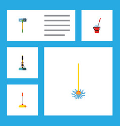 flat icon mop set of besom broom broomstick and vector image
