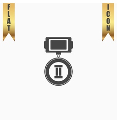 Flat icon of medal 2 places vector image