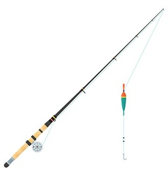 Flat style float fishing rod vector