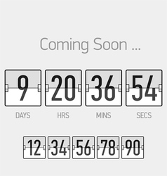 Flip Coming Soon countdown timer template vector