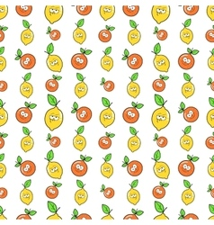 Fruits seamless background with funny lemons vector
