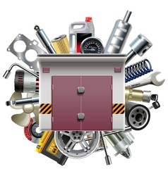 Garage with car spares vector