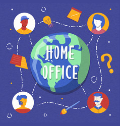 global home office concept international team vector image