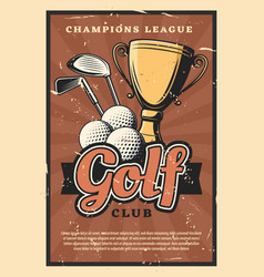 golf game sport club balls and sticks vector image