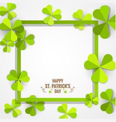 green shamrock frame for st patricks day card vector image