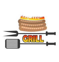 grill sausage icon vector image