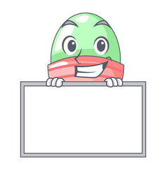 Grinning with board boiled egg cup isolated on vector