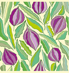 hand drawn line art flowers and leaves in hues of vector image
