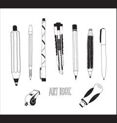 hand drawn stationery set vector image