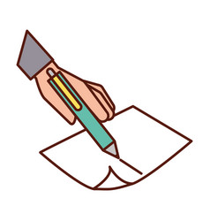 hand holding pen writing on paper vector image