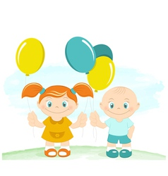 Happy kids with toy balloons vector