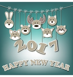 Happy new year 2017 and forest animals vector