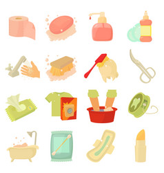hygiene cleaning icons set cartoon style vector image