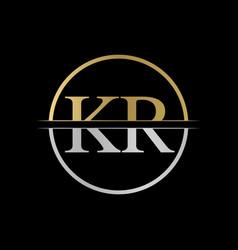 initial kr letter logo design abstract letter kr vector image