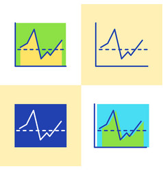 invest report graph icon set in flat and line vector image