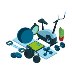 Isometric sports equipment for home workout vector