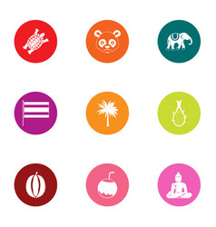 Jungle life icons set flat style vector