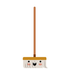 Kawaii broom with wooden stick in colorful vector