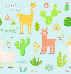 lamas seamless pattern hand drawn childish vector image