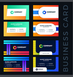 large set colored abstract business card vector image