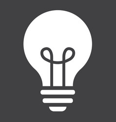 Light bulb solid icon lamp and idea light vector