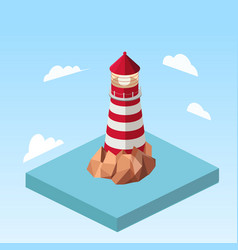 Lighthouse on a rock isometric vector