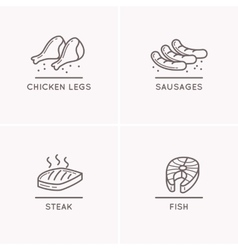 line drawing sausages chicken legs salmon fillet vector image