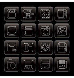 line home and office equipment icons vector image
