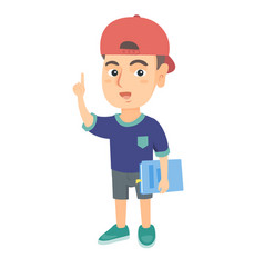 little caucasian schoolboy pointing forefinger up vector image