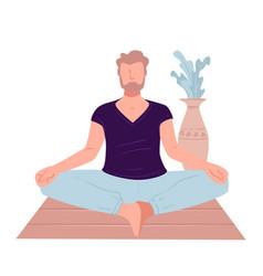meditating man at home male character doing yoga vector image