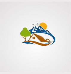 mountain house logo icon element and template vector image