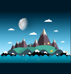 mountains and hills on island sea with moon on vector image