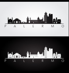 palermo skyline and landmarks silhouette vector image