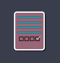 Paper sticker on stylish background checklist vector