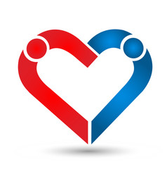 People couple creating a heart loving and caring vector