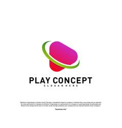 Play logo design concept planet play logo vector