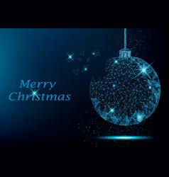 polygonal christmas tree ball vector image