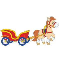 Pony with a cart vector image