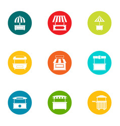 Porch icons set flat style vector