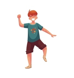 Portrait of teenaged red haired boy in shorts vector