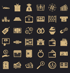 Quantity money icons set simple style vector