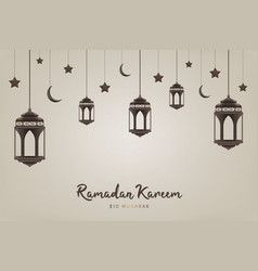 Ramadan kareem background hanging lanterns vector