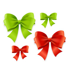 Realistic 3d detailed green and red bow set vector