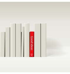 Red book in row white book vector