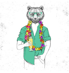 Retro hipster animal bear with tropic cocktail vector