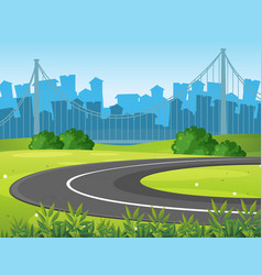 Road and park with city buildings in background vector