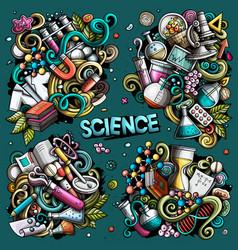 Science cartoon doodle designs set vector