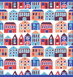 Seamless pattern with hand drawn houses vector